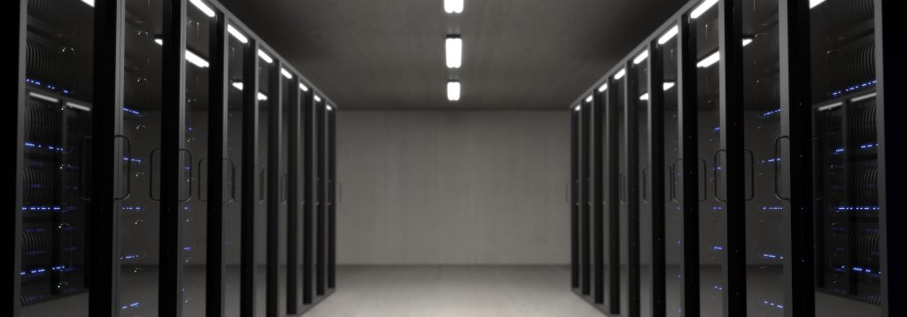 A picture of very clean and orderly data centre racks.